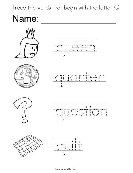 coloring pages starting with q | Trace the words that begin with the letter Q Coloring Page ...
