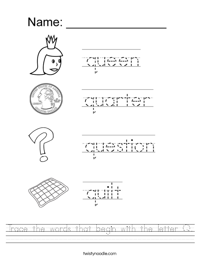 Toys That Start With F : Trace the words that begin with letter q worksheet
