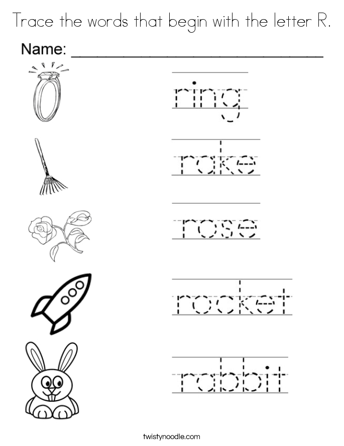 Trace the words that begin with the letter R. Coloring Page