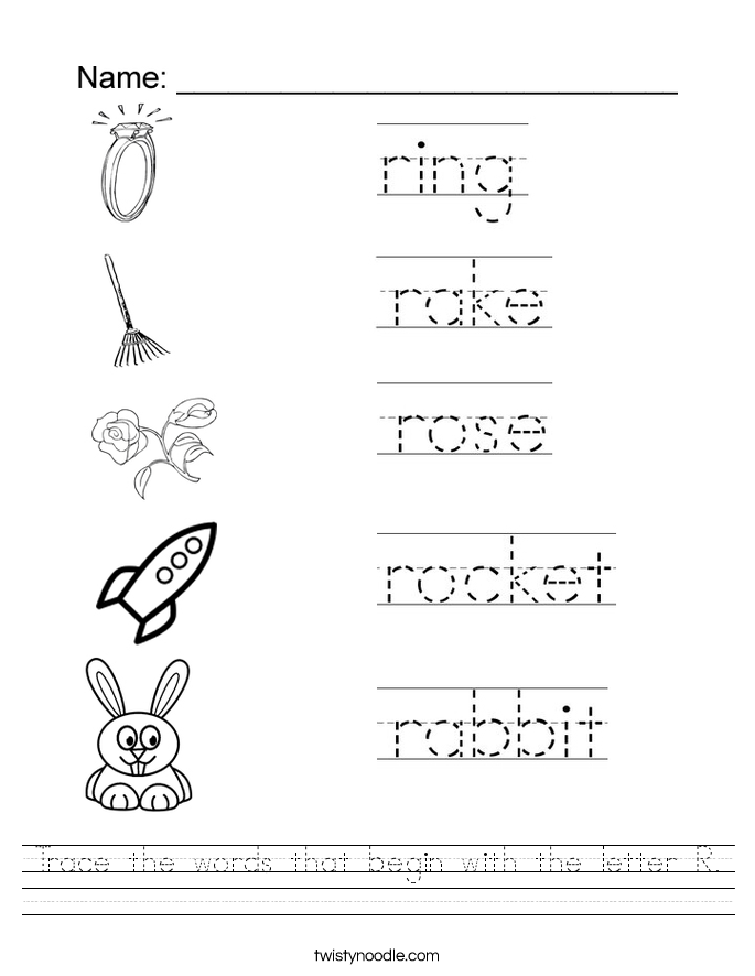 Trace the words that begin with the letter R. Worksheet
