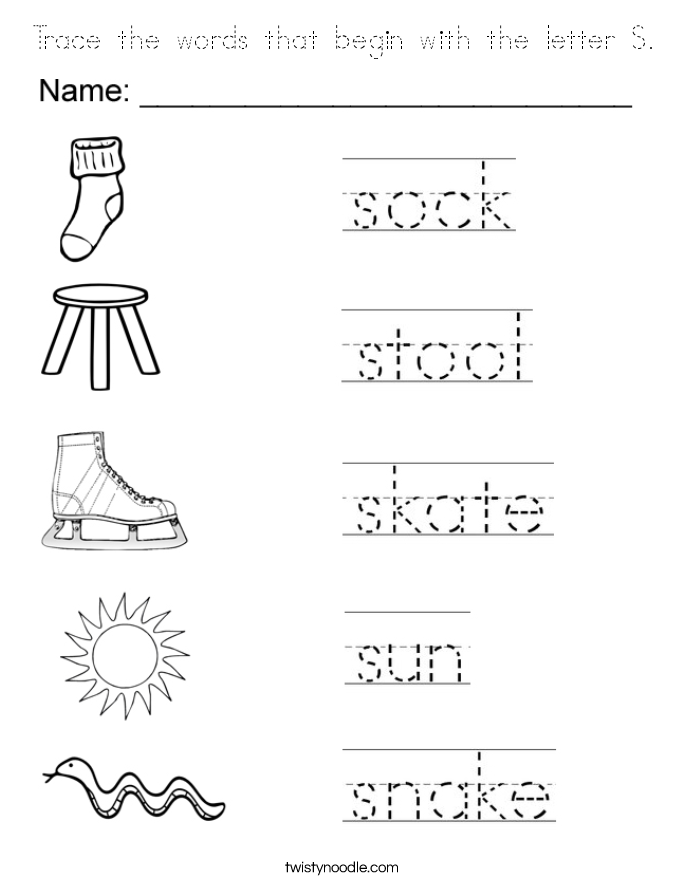 Trace the words that begin with the letter S. Coloring Page