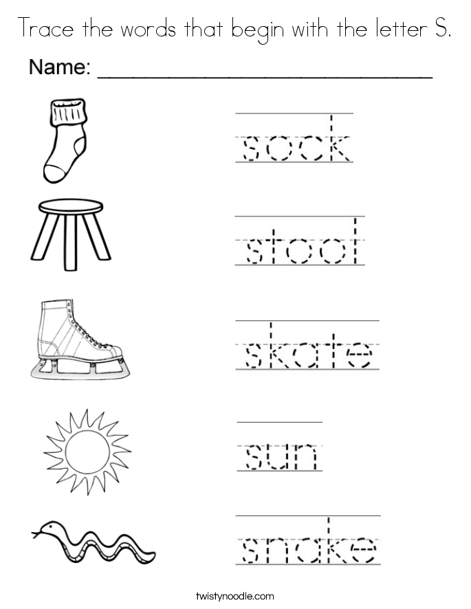 trace the words that begin with the letter s coloring page