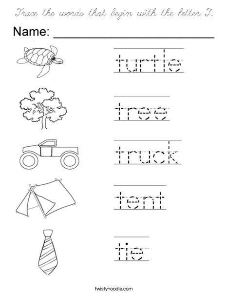 Trace the words that begin with the letter T. Coloring Page