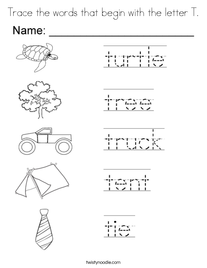 trace the words that begin with the letter t coloring page - Letter T Coloring Sheets
