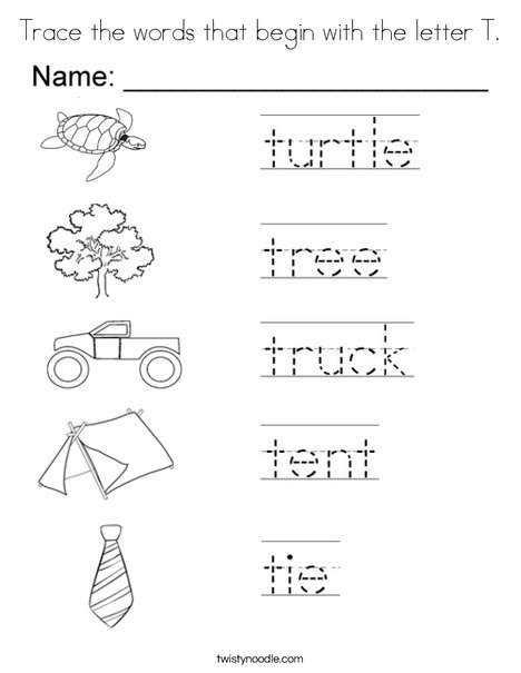 words that start with the letter t trace the words that begin with the letter t coloring page 38119