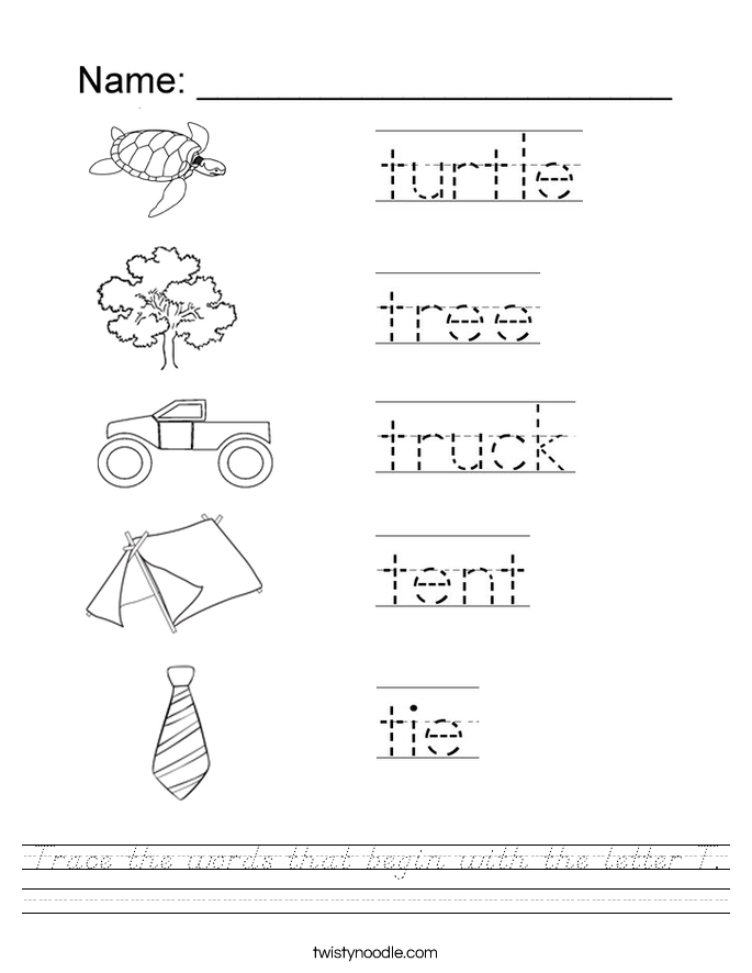 Trace the words that begin with the letter T. Worksheet