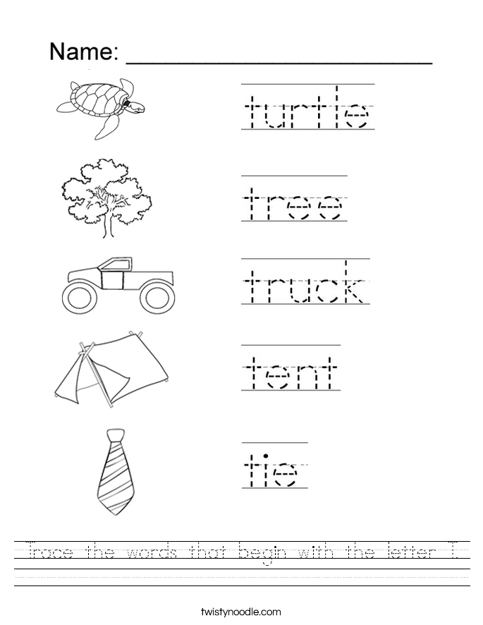 Trace the words that begin with the letter T Worksheet Twisty Noodle – Letter T Worksheets