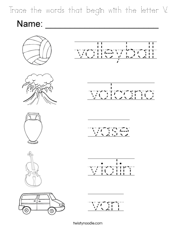 Trace the words that begin with the letter V. Coloring Page