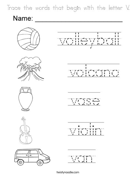 words that start with the letter v trace the words that begin with the letter v coloring page 31133