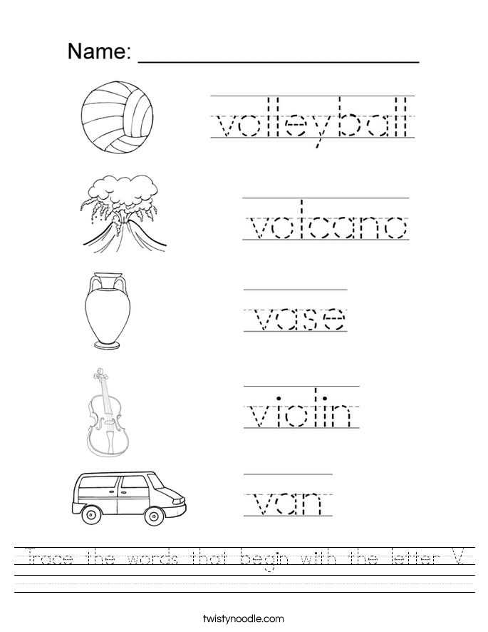 Trace the words that begin with the letter V. Worksheet