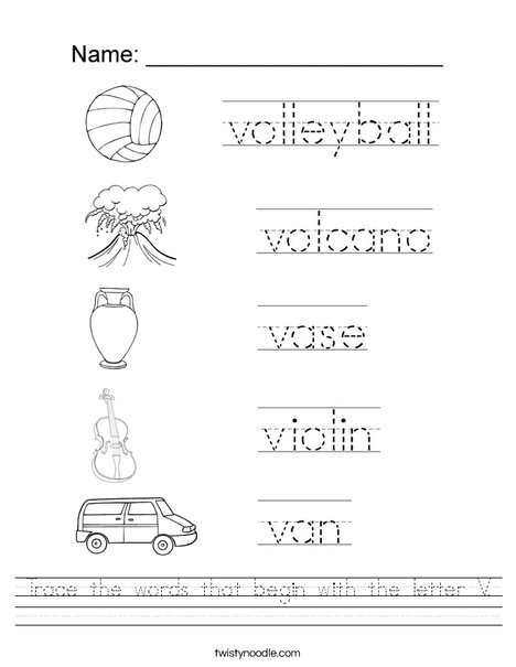 Worksheets Letter V Worksheet trace the words that begin with letter v worksheet twisty noodle worksheet