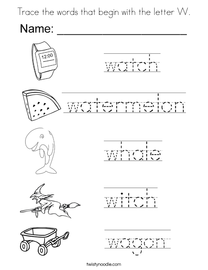 Trace the words that begin with the letter W. Coloring Page