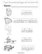 Trace the words that begin with the letter W Coloring Page