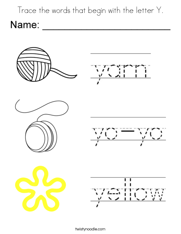 Trace the words that begin with the letter Y. Coloring Page