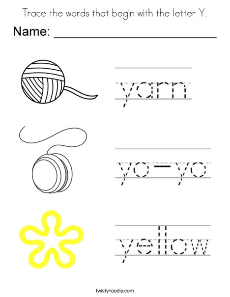 trace the words that begin with the letter y coloring page - twisty