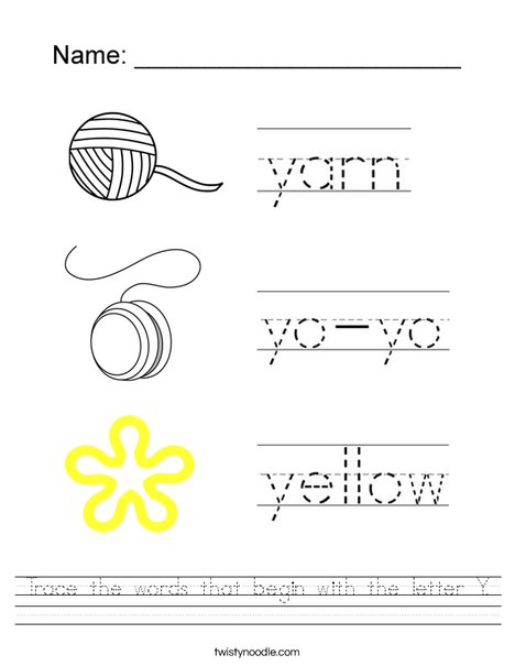 Trace the words that begin with the letter Y. Worksheet