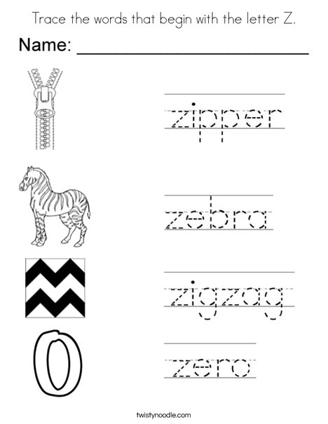 Trace the words that begin with the letter Z. Coloring Page