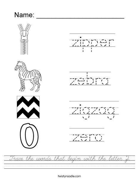 Trace the words that begin with the letter Z. Worksheet