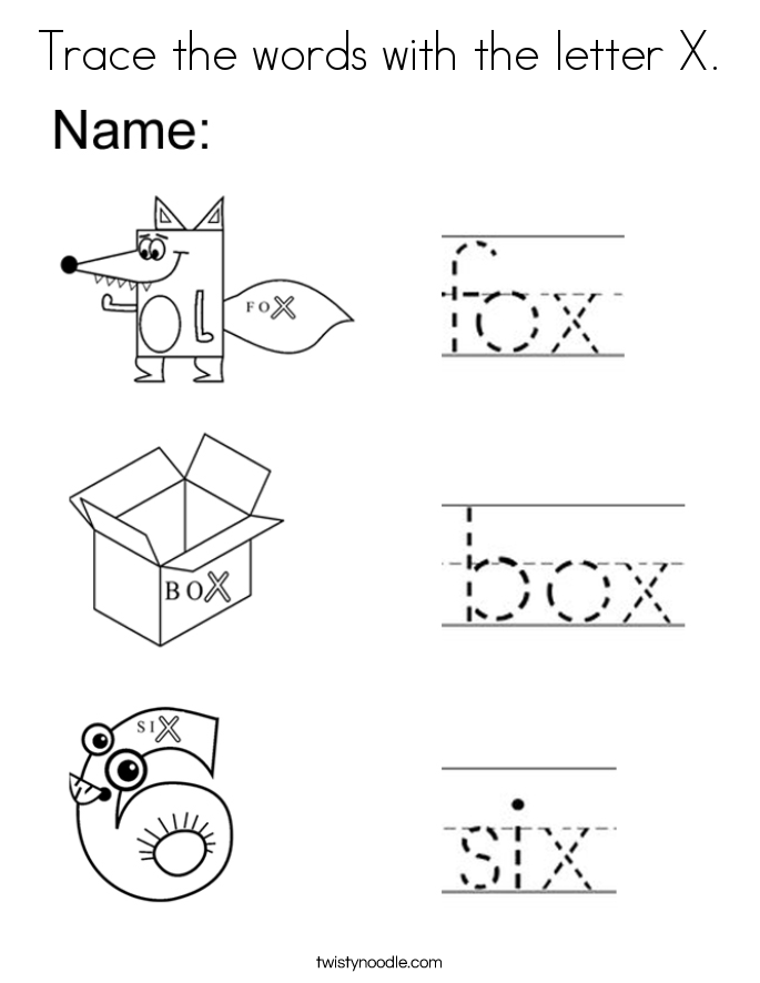 Trace the words with the letter X. Coloring Page