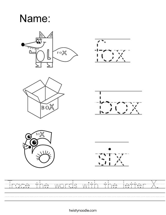 Trace the words with the letter X. Worksheet