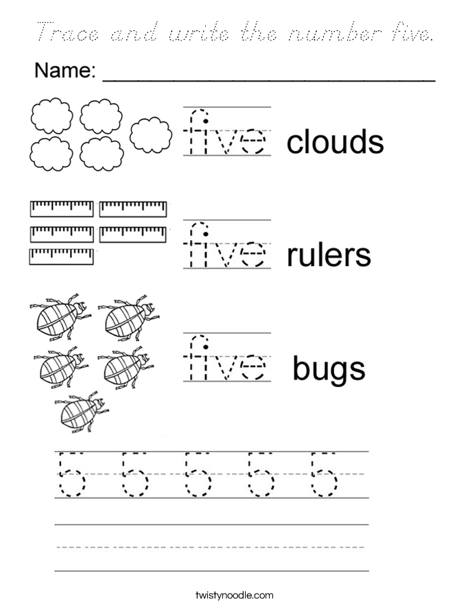 Trace and write the number five Coloring Page - D'Nealian ...