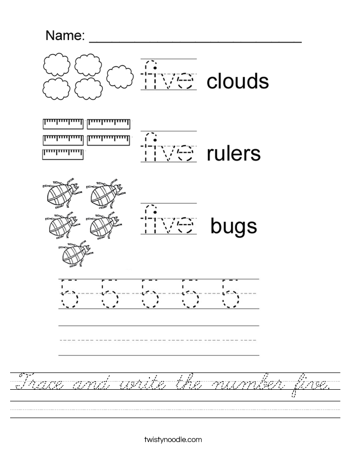 Trace and write the number five. Worksheet