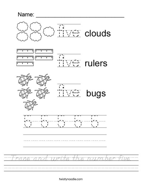 Tracing Five Worksheet