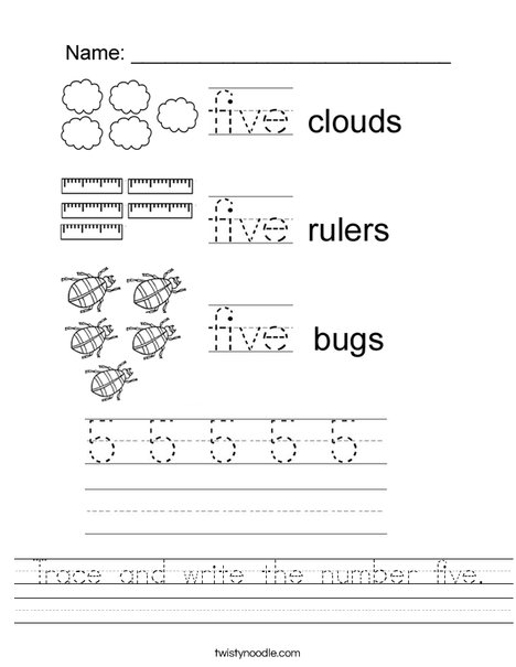 Tracing Five Worksheet