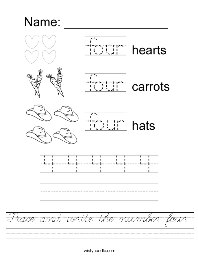 trace and write the number four worksheet cursive twisty noodle. Black Bedroom Furniture Sets. Home Design Ideas