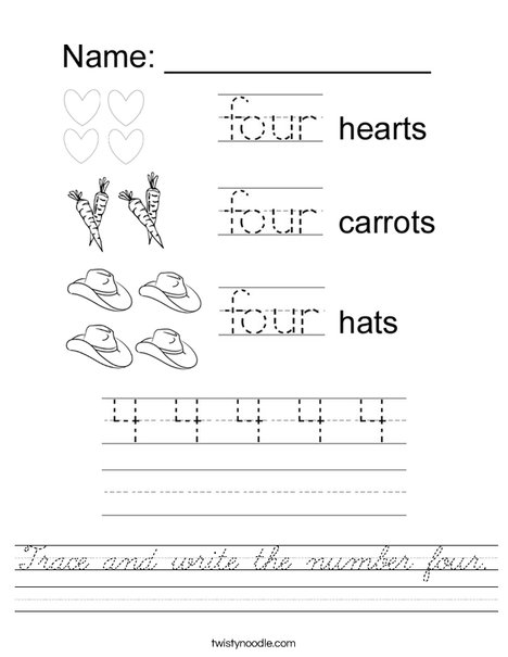 Tracing Four Worksheet