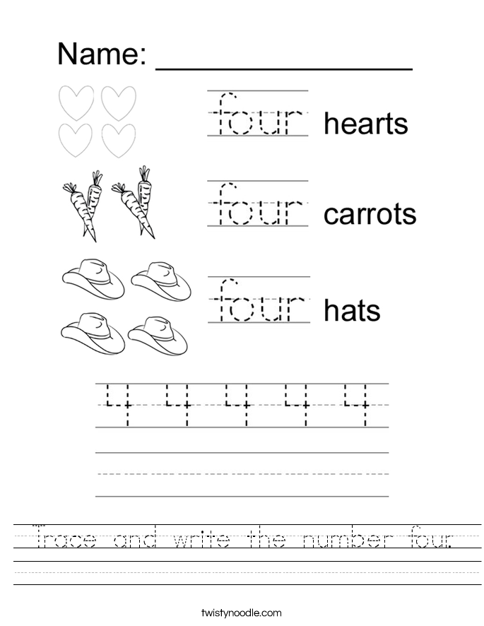 Printable Worksheets trace numbers worksheets : Trace and write the number four Worksheet - Twisty Noodle