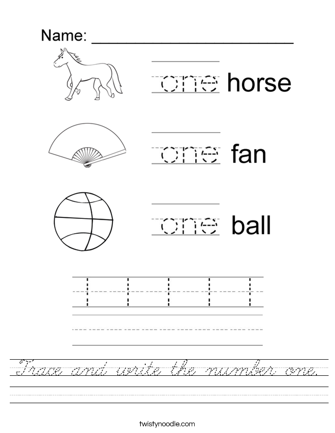 Trace and write the number one. Worksheet