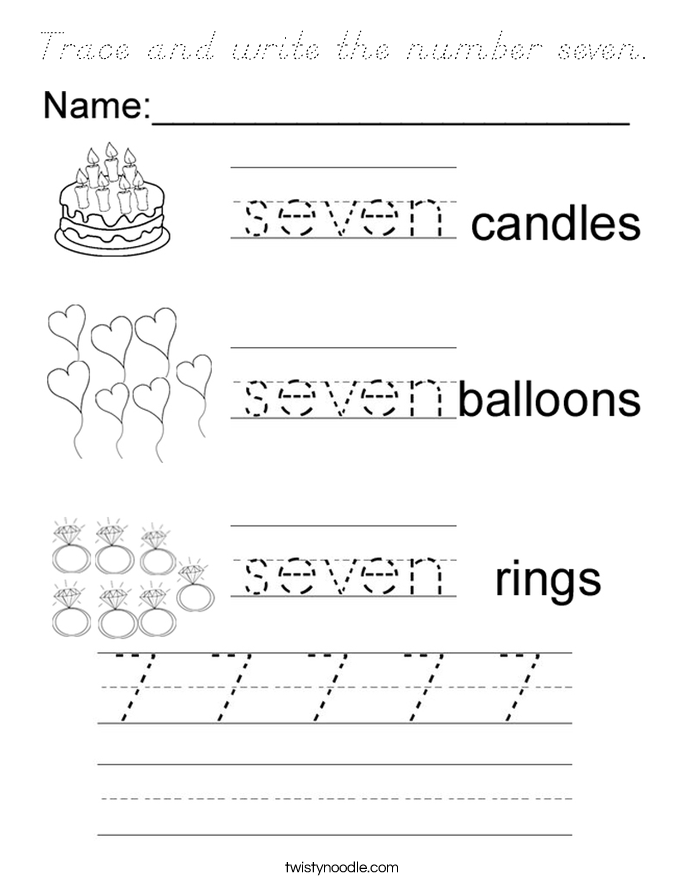 Trace and write the number seven. Coloring Page
