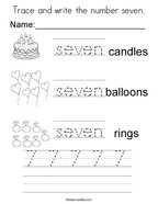 Trace and write the number seven Coloring Page