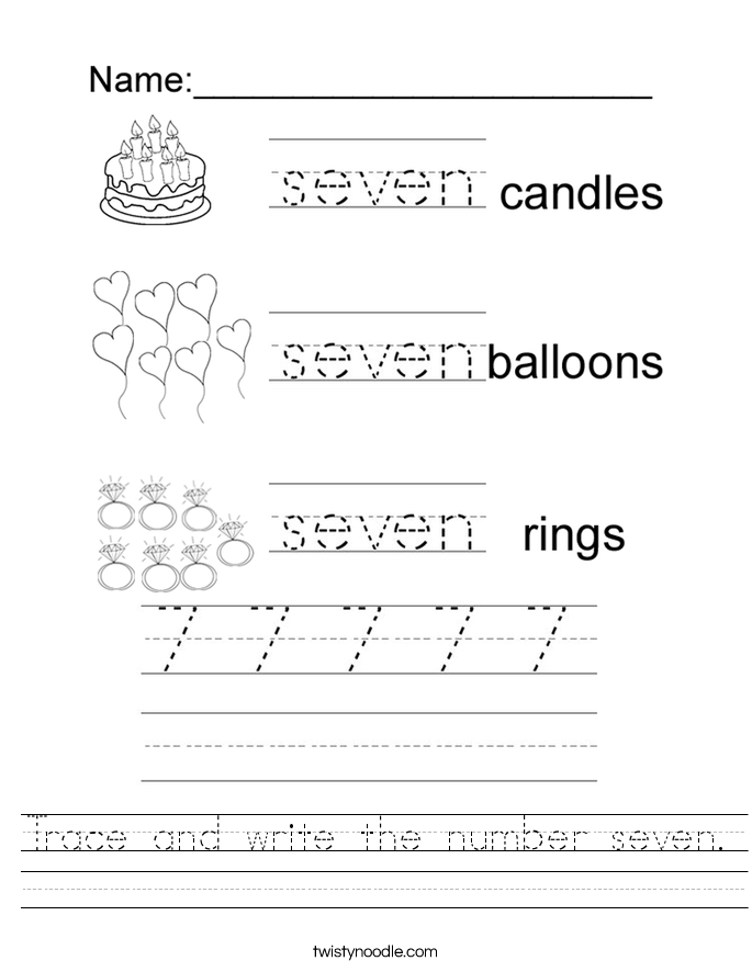 Trace And Write The Number Seven Worksheet Twisty Noodle