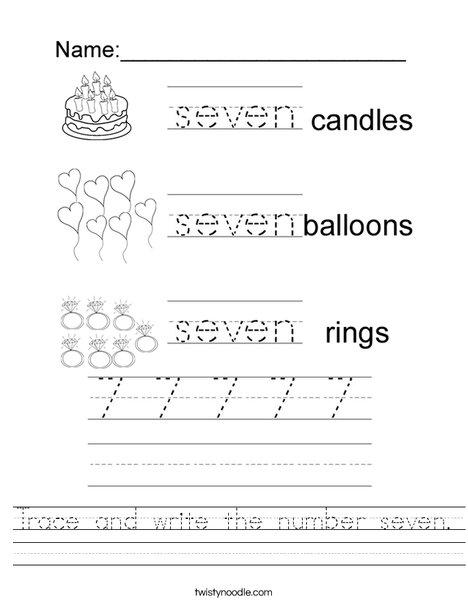 Tracing Seven Worksheet