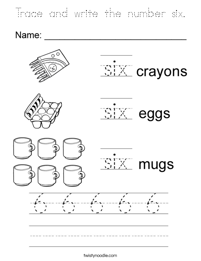 Trace and write the number six. Coloring Page