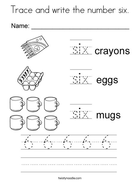 Tracing Six Coloring Page