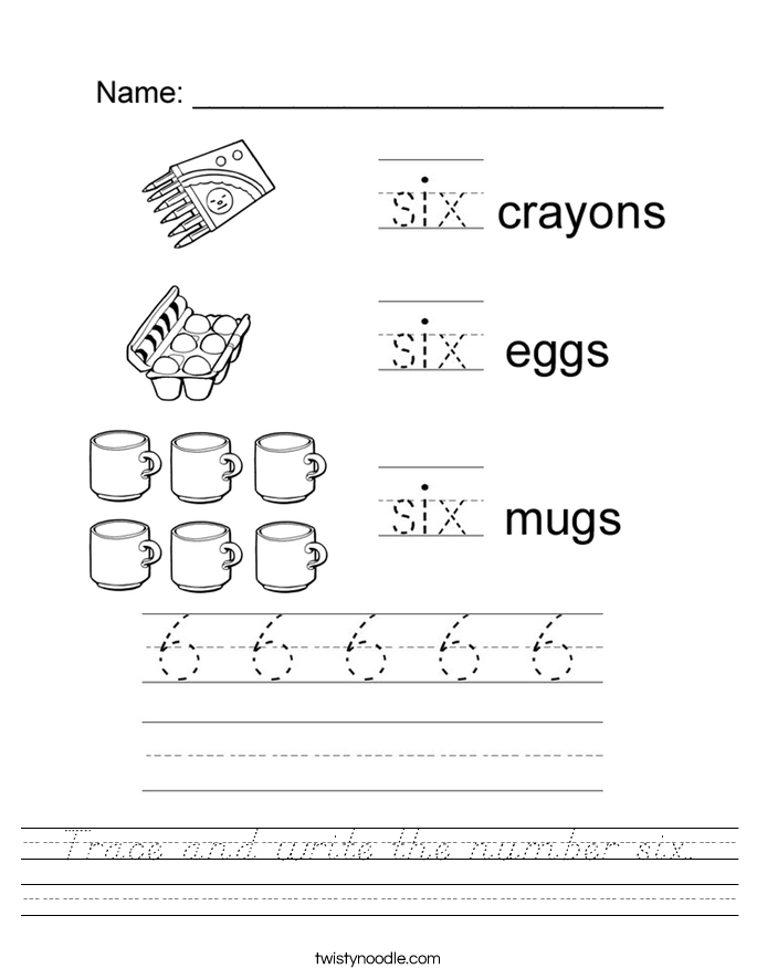 Trace and write the number six. Worksheet