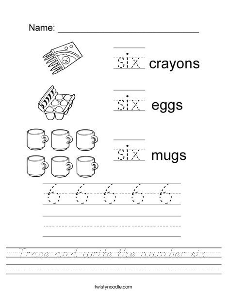 Tracing Six Worksheet