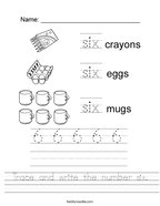 Trace and write the number six Handwriting Sheet