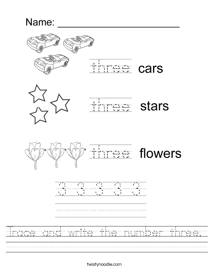 Trace and write the number three Worksheet - Twisty Noodle