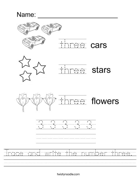 Tracing Three Worksheet