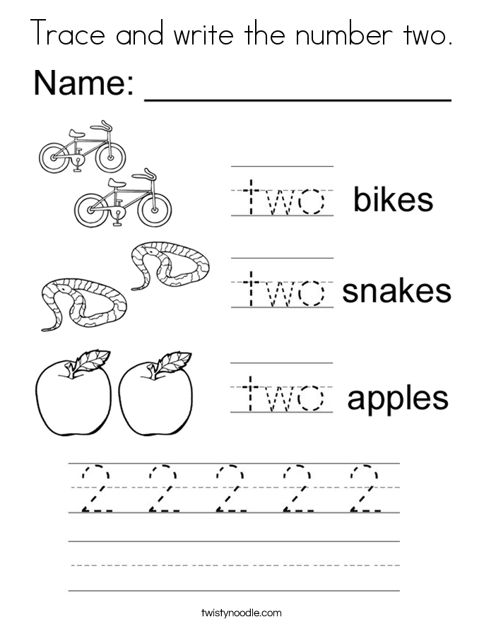Trace and write the number two. Coloring Page