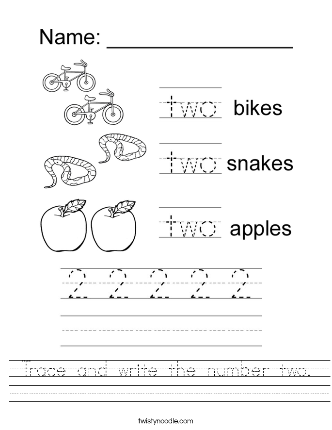 Trace and write the number two. Worksheet