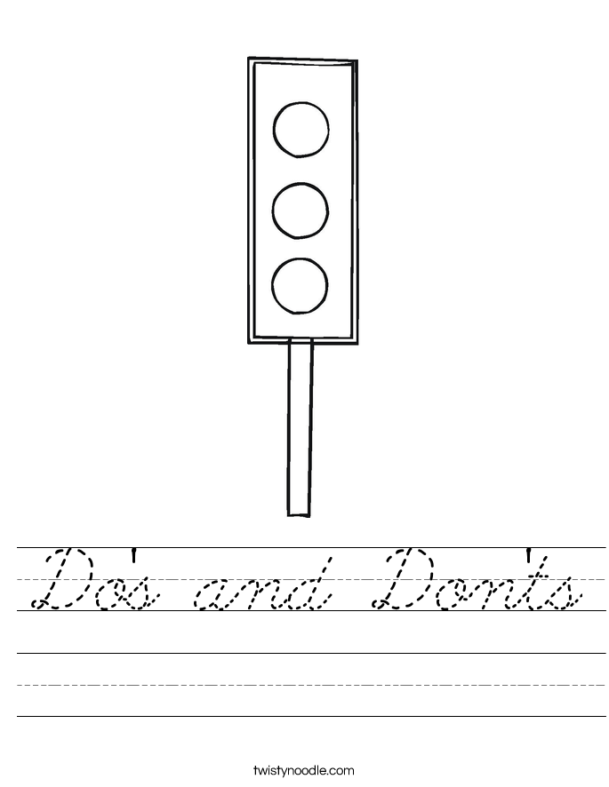 Do's and Don'ts Worksheet