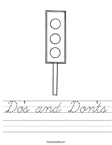 Traffic Light Worksheet
