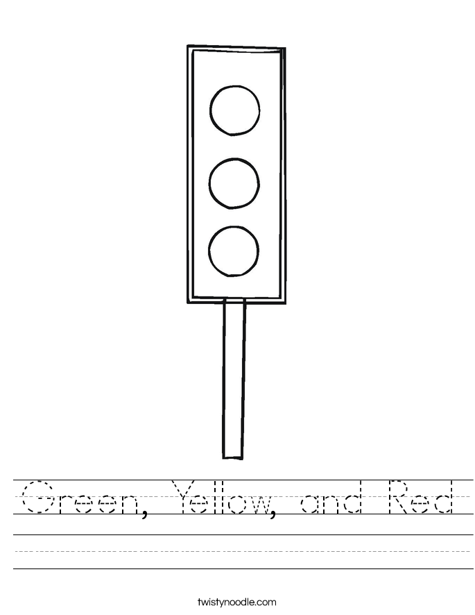Green, Yellow, and Red Worksheet