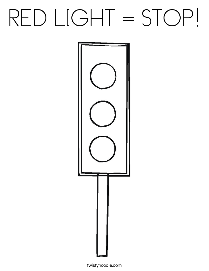RED LIGHT = STOP! Coloring Page