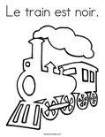 Le train est noir.Coloring Page